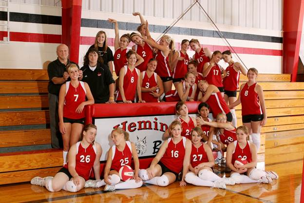 Description: J:\Yearbook Pictures\2008-2009\Groups\3133 Everyone VB TEAM SILLY.JPG