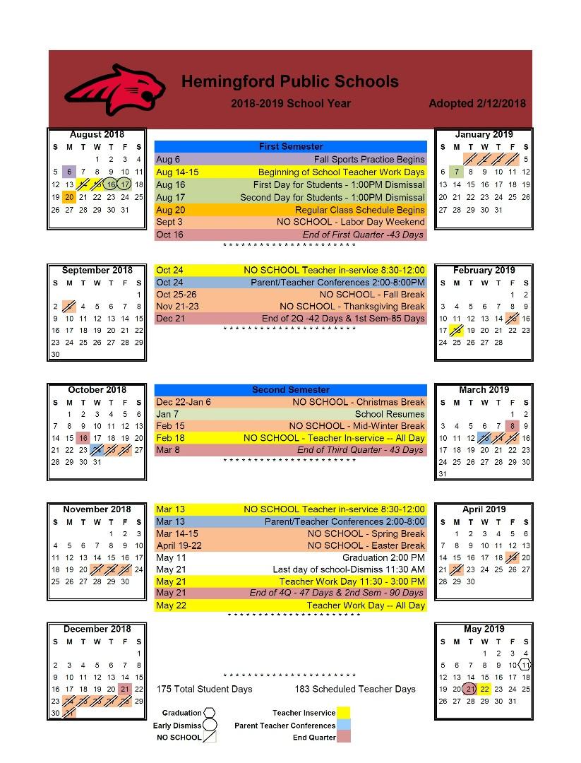 2018 2019 calendar